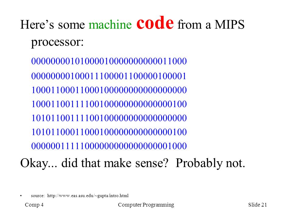 Here's some machine code from a MIPS processor: