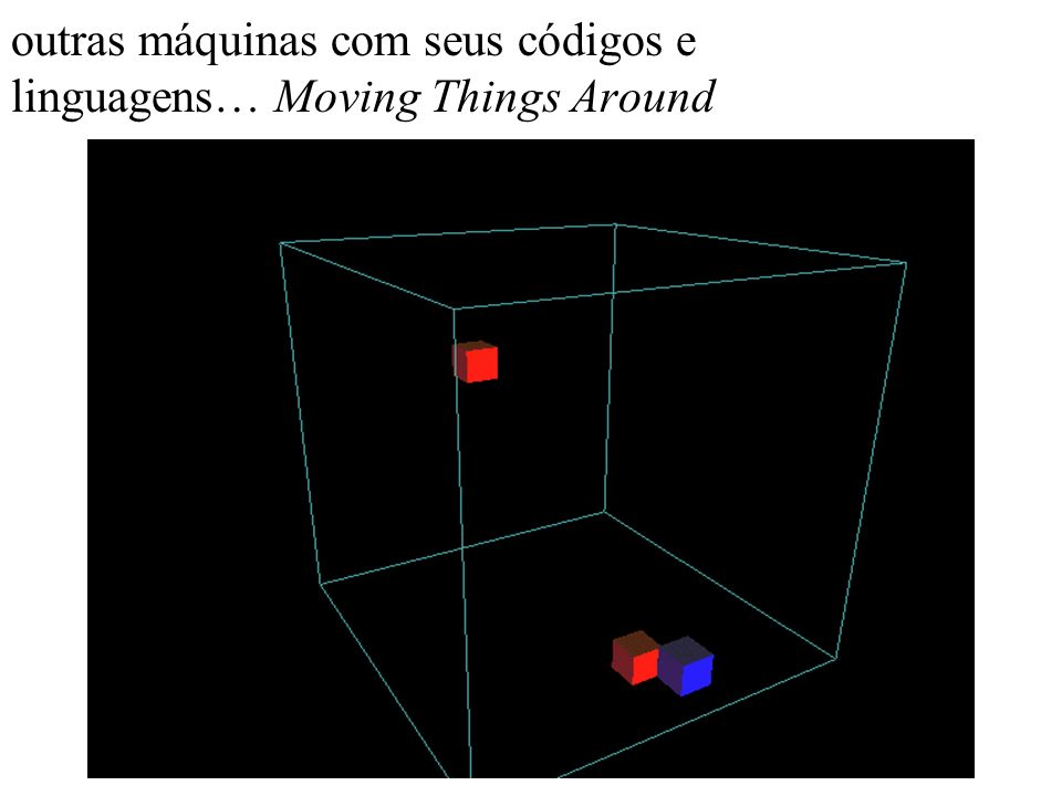 outras máquinas com seus códigos e linguagens… Moving Things Around