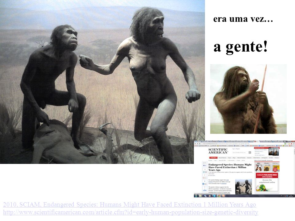 era uma vez… a gente! 2010, SCIAM, Endangered Species: Humans Might Have Faced Extinction 1 Million Years Ago.