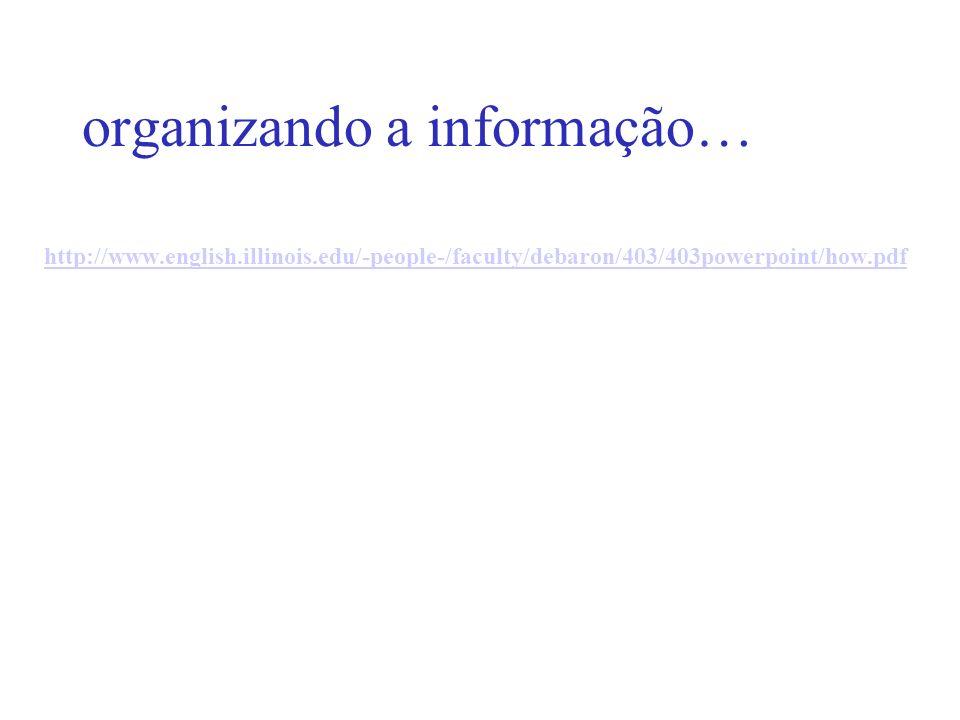 organizando a informação…