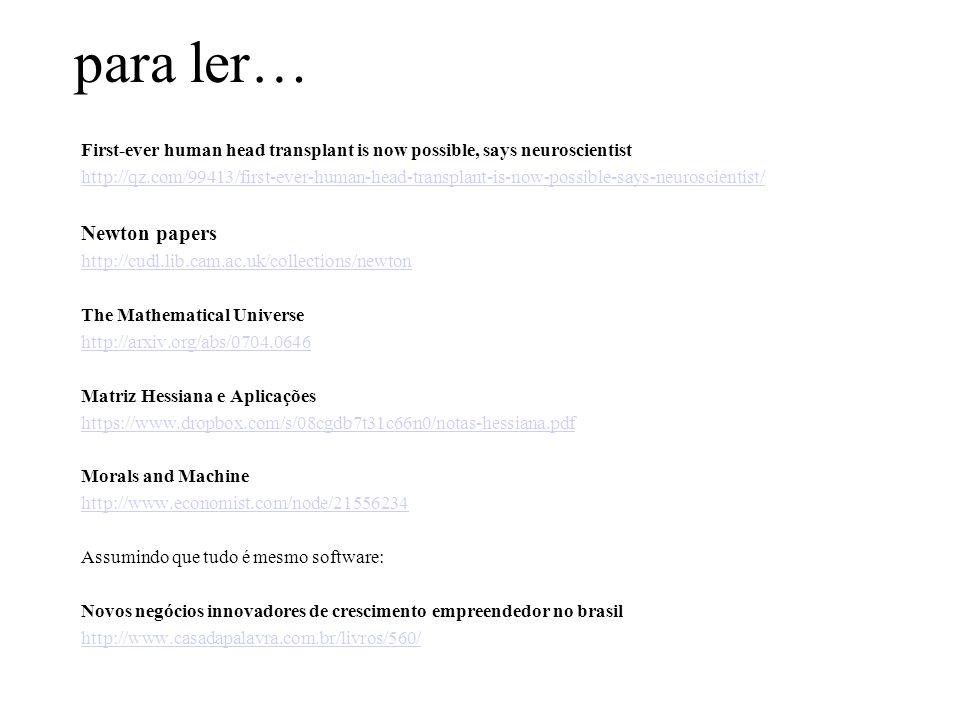 para ler… Newton papers