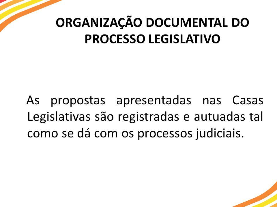ORGANIZAÇÃO DOCUMENTAL DO PROCESSO LEGISLATIVO