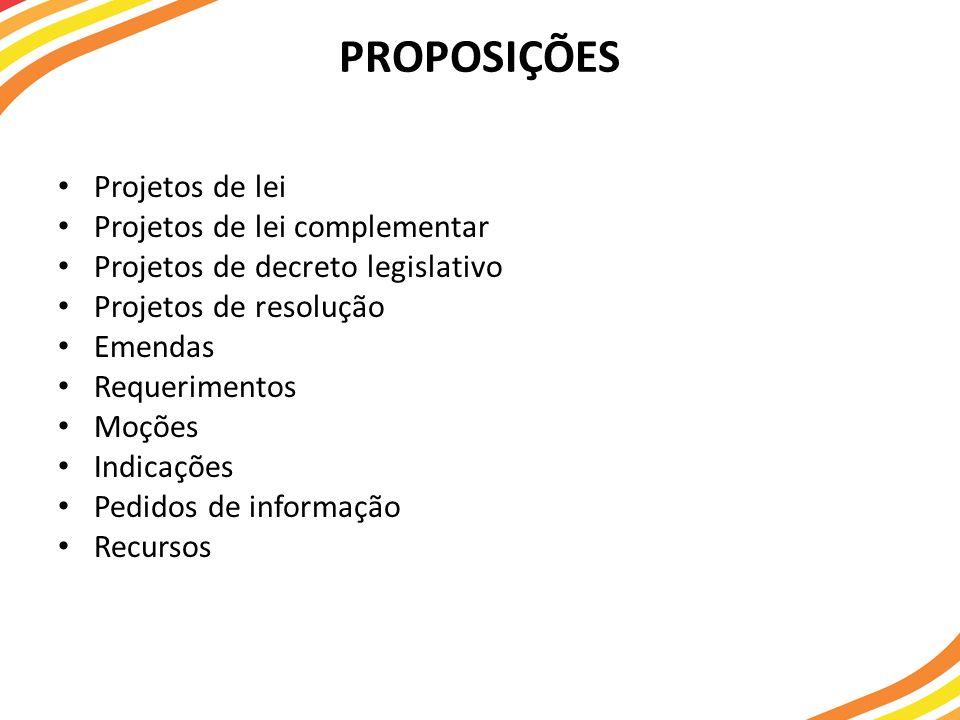 PROPOSIÇÕES Projetos de lei Projetos de lei complementar