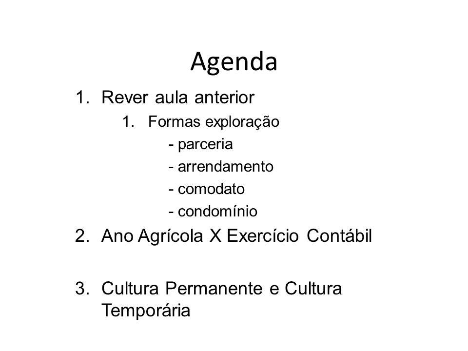 Agenda Rever aula anterior Ano Agrícola X Exercício Contábil