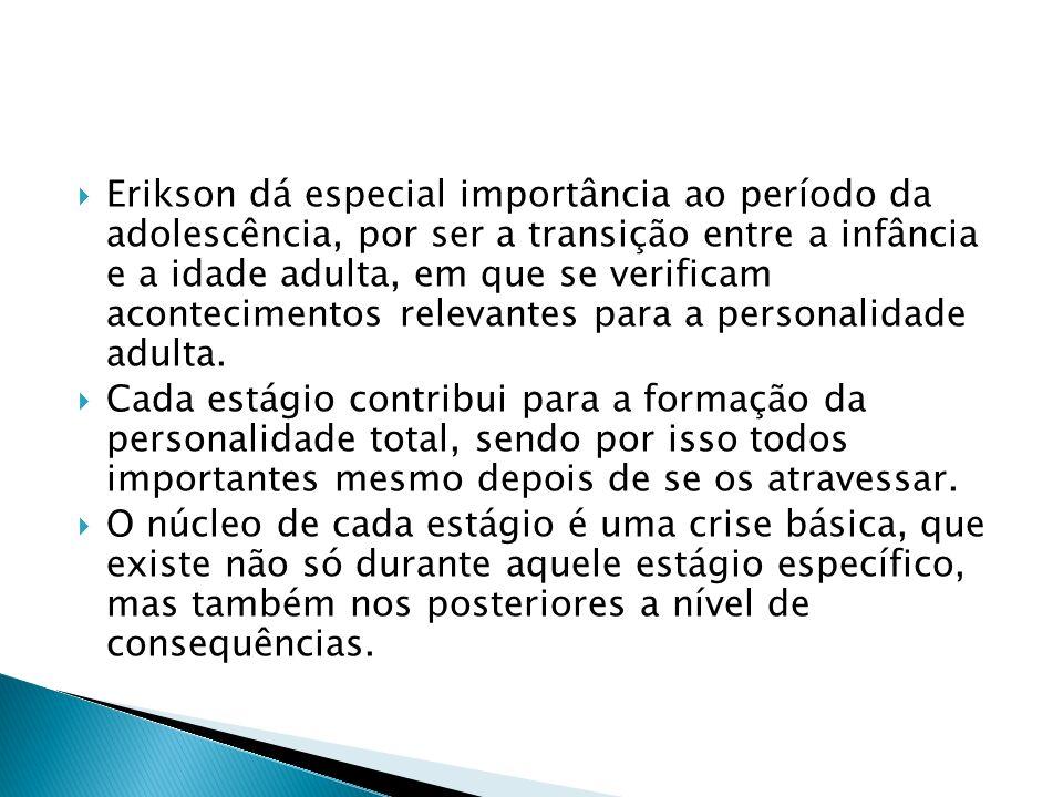 Erikson dá especial importância ao período da adolescência, por ser a transição entre a infância e a idade adulta, em que se verificam acontecimentos relevantes para a personalidade adulta.