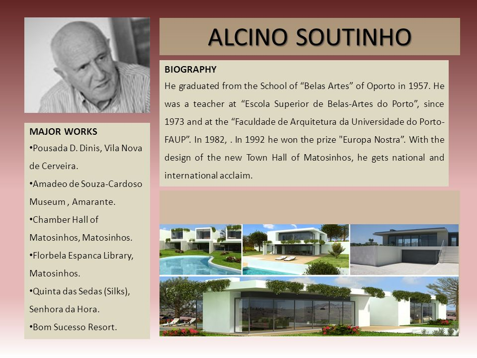 ALCINO SOUTINHO BIOGRAPHY MAJOR WORKS