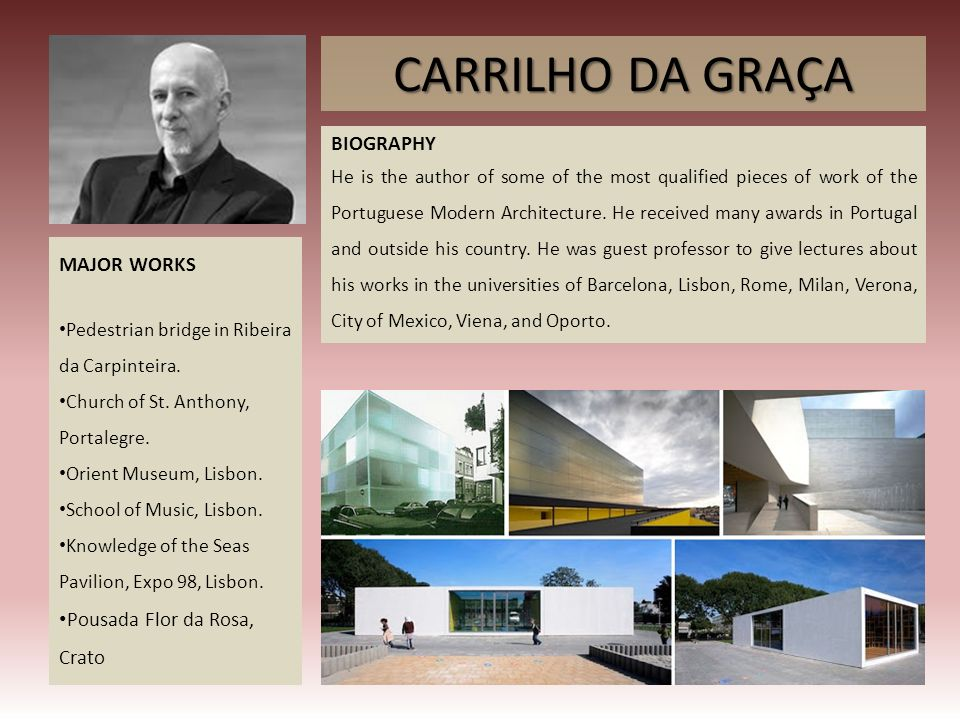 CARRILHO DA GRAÇA BIOGRAPHY MAJOR WORKS Pousada Flor da Rosa, Crato