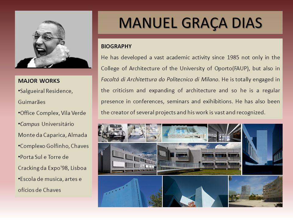 MANUEL GRAÇA DIAS MAJOR WORKS BIOGRAPHY