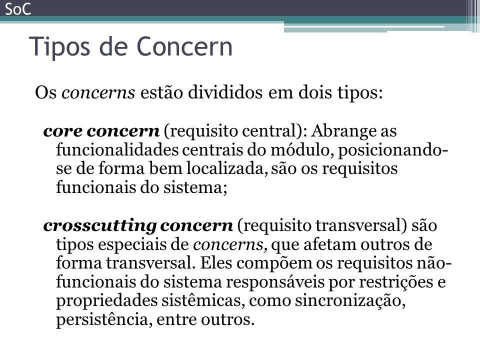 Tipos de Concern Os concerns estão divididos em dois tipos:
