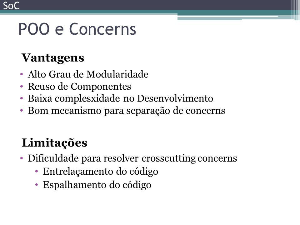 POO e Concerns Vantagens Limitações SoC Alto Grau de Modularidade