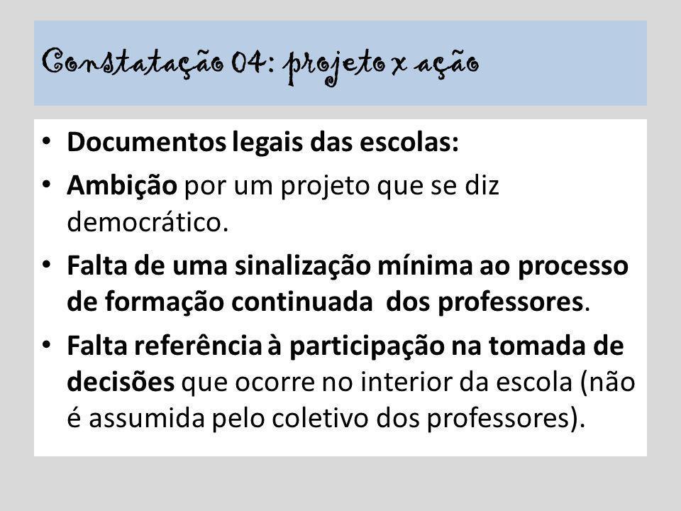 Constatação 04: projeto x ação