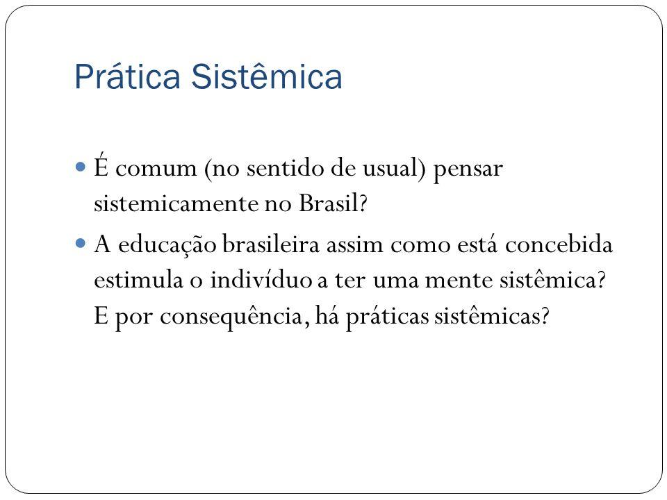 Prática Sistêmica É comum (no sentido de usual) pensar sistemicamente no Brasil
