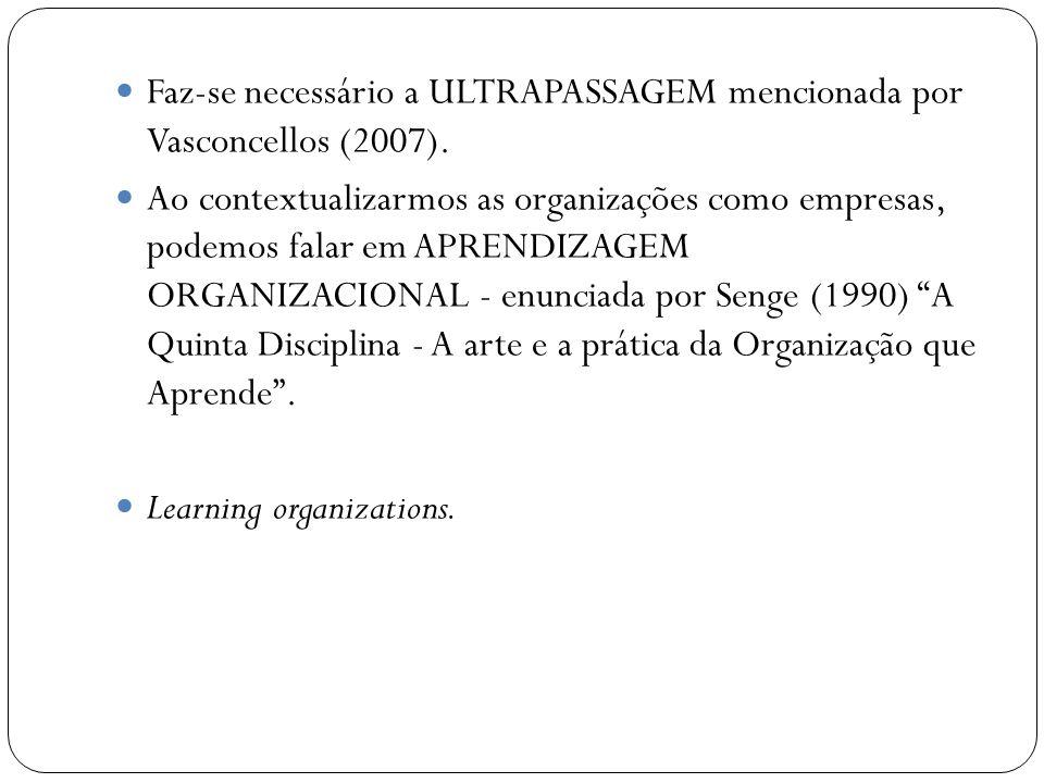 Faz-se necessário a ULTRAPASSAGEM mencionada por Vasconcellos (2007).
