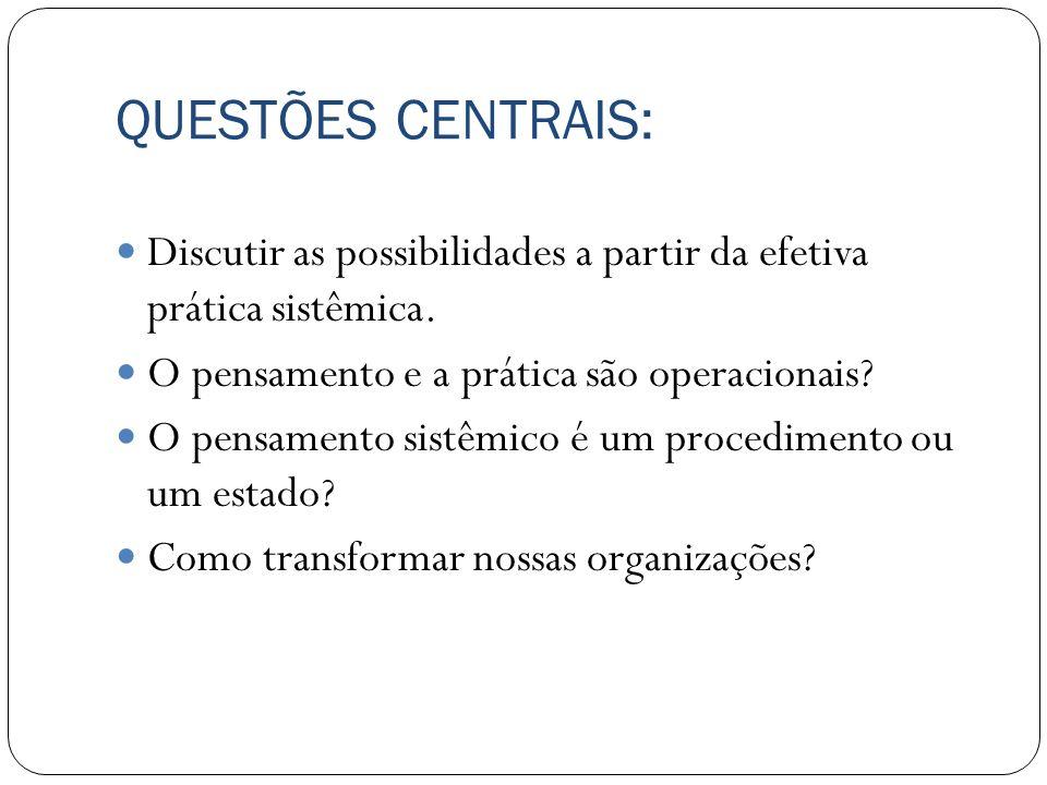 QUESTÕES CENTRAIS: Discutir as possibilidades a partir da efetiva prática sistêmica. O pensamento e a prática são operacionais
