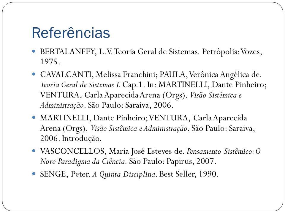 Referências BERTALANFFY, L.V. Teoria Geral de Sistemas. Petrópolis: Vozes, 1975.