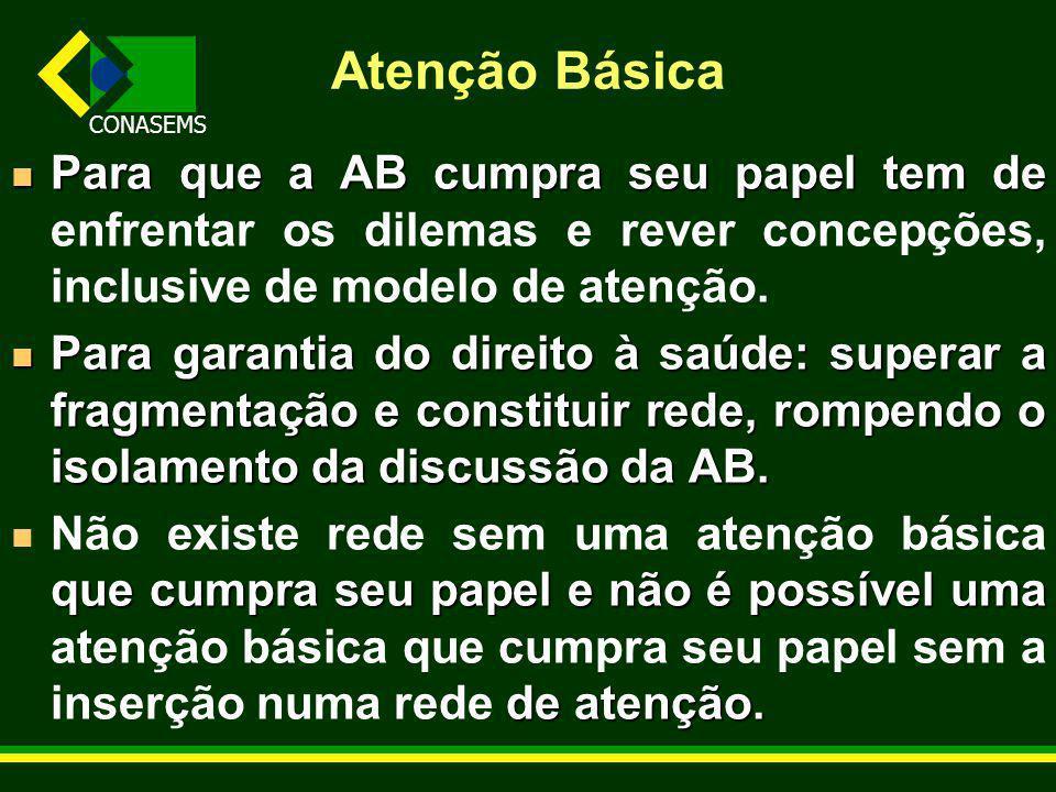 Atenção Básica Para que a AB cumpra seu papel tem de enfrentar os dilemas e rever concepções, inclusive de modelo de atenção.