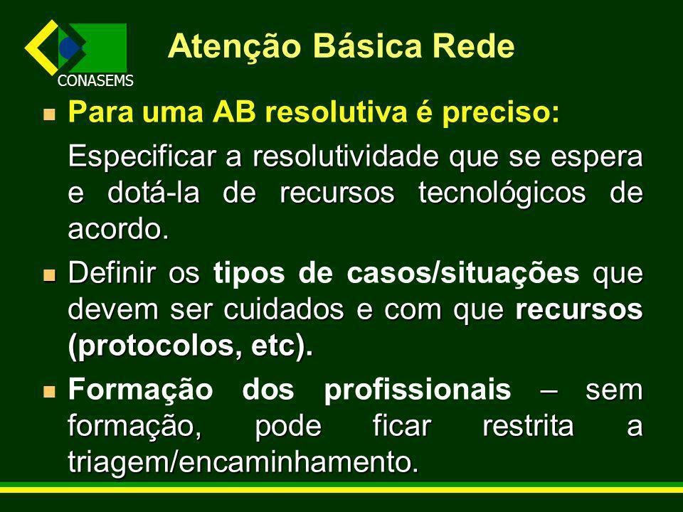 Atenção Básica Rede Para uma AB resolutiva é preciso: