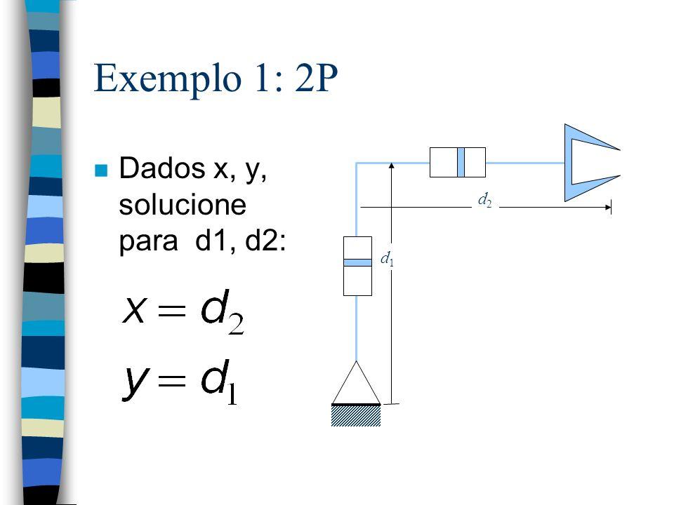 Exemplo 1: 2P d2 d1 Dados x, y, solucione para d1, d2: