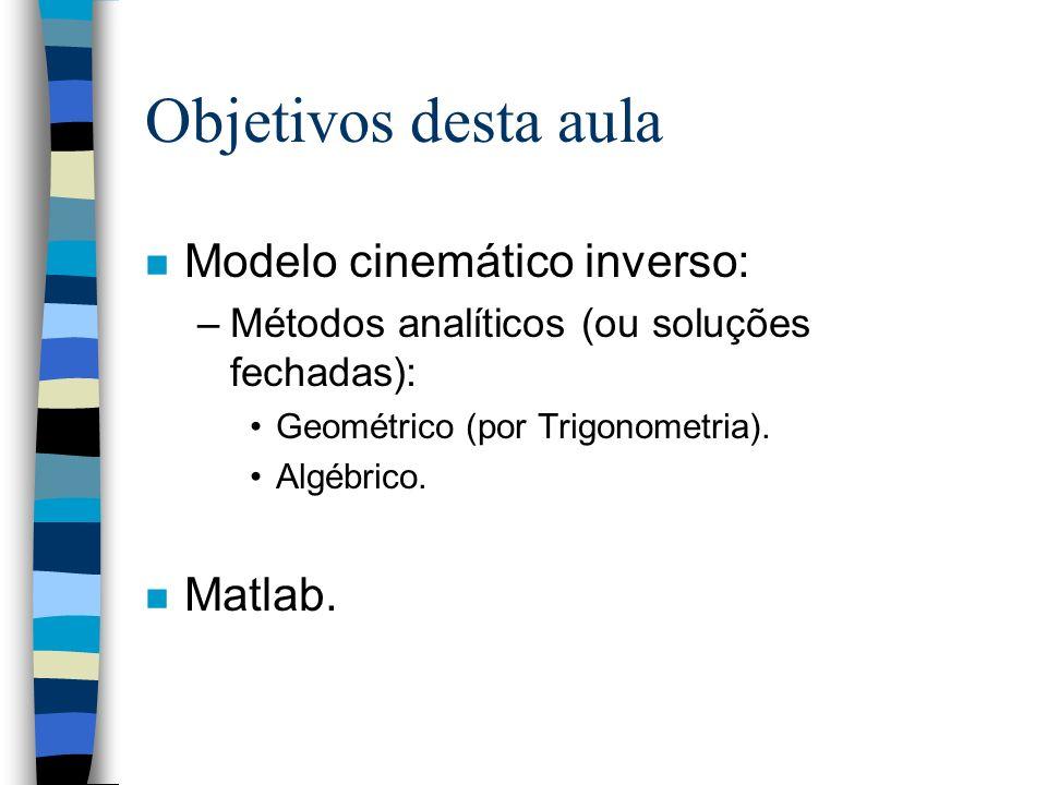 Objetivos desta aula Modelo cinemático inverso: Matlab.