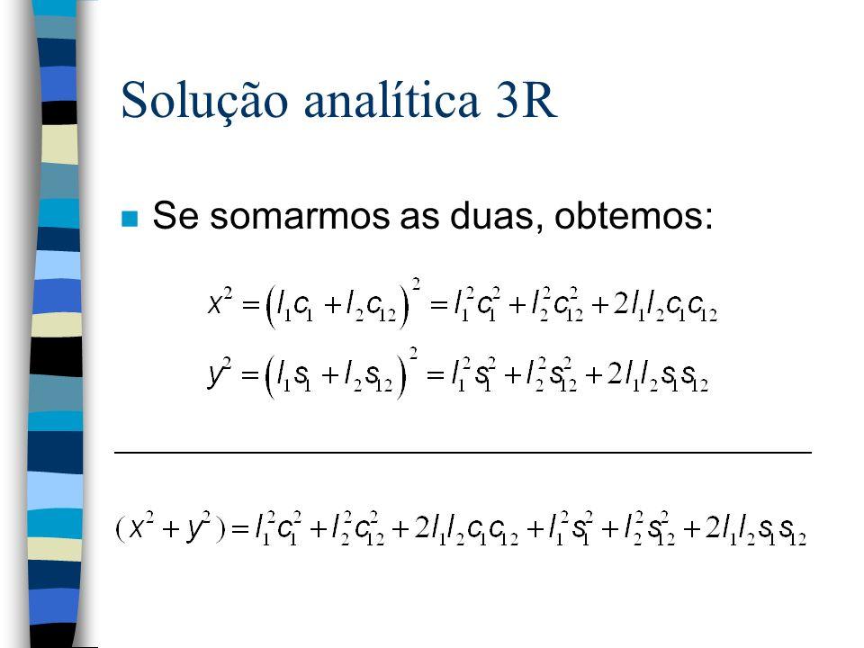 Solução analítica 3R Se somarmos as duas, obtemos: