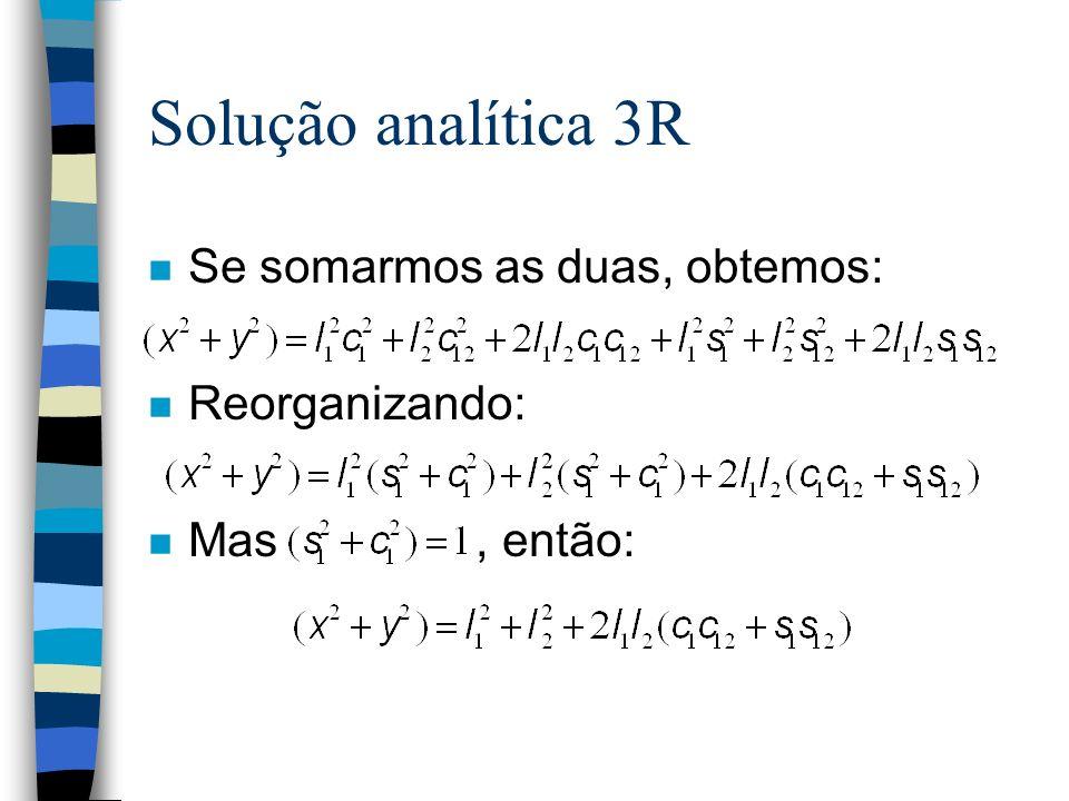 Solução analítica 3R Se somarmos as duas, obtemos: Reorganizando: