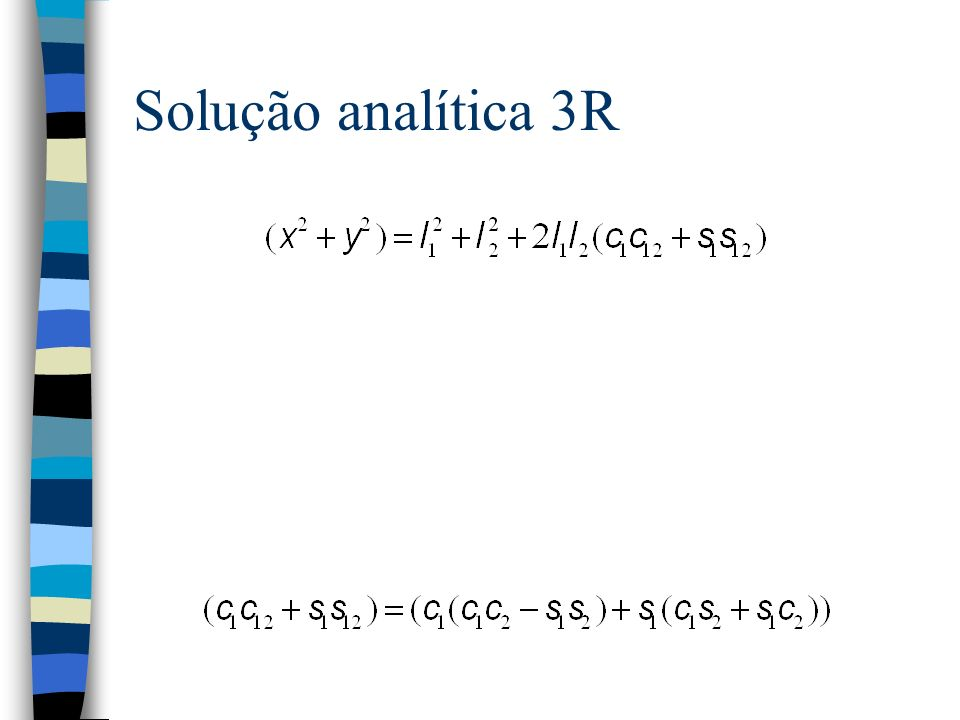 Solução analítica 3R Agora, pelas identidades trigonométricas sabemos que: E portanto: