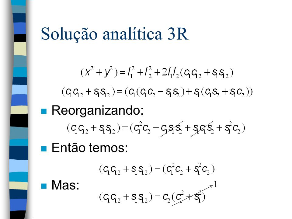 Solução analítica 3R Reorganizando: Então temos: Mas: 1