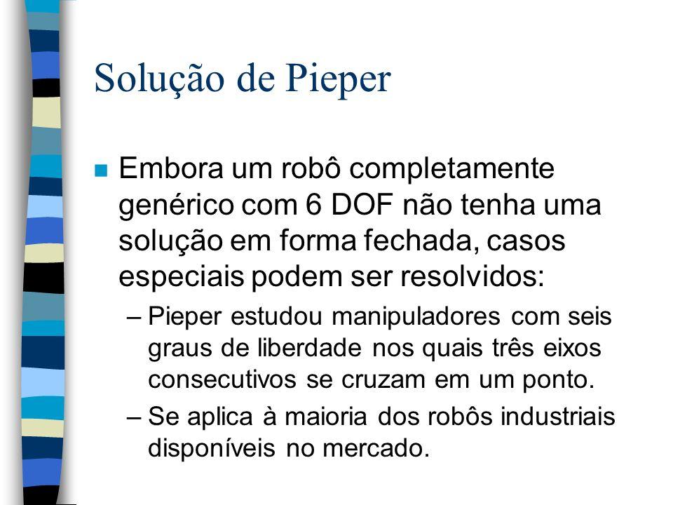Solução de Pieper Embora um robô completamente genérico com 6 DOF não tenha uma solução em forma fechada, casos especiais podem ser resolvidos: