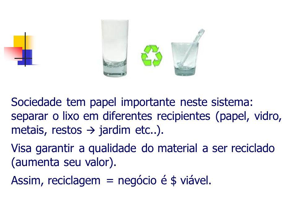 Sociedade tem papel importante neste sistema: separar o lixo em diferentes recipientes (papel, vidro, metais, restos  jardim etc..).