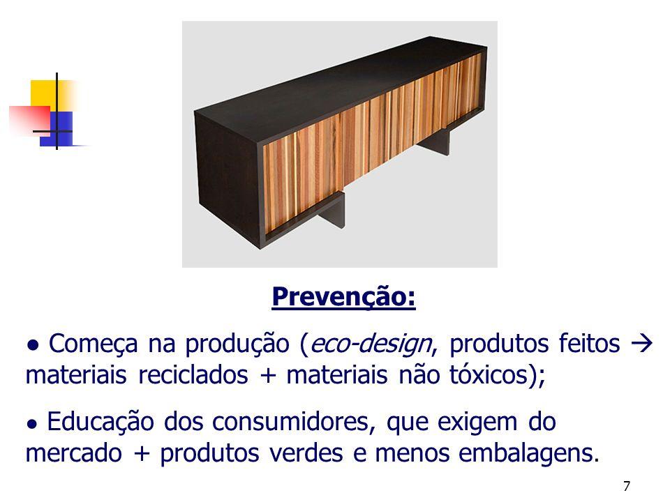 Prevenção: ● Começa na produção (eco-design, produtos feitos  materiais reciclados + materiais não tóxicos);