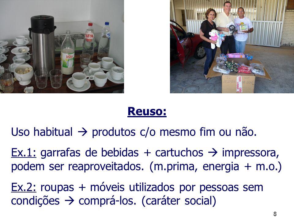 Reuso: Uso habitual  produtos c/o mesmo fim ou não.