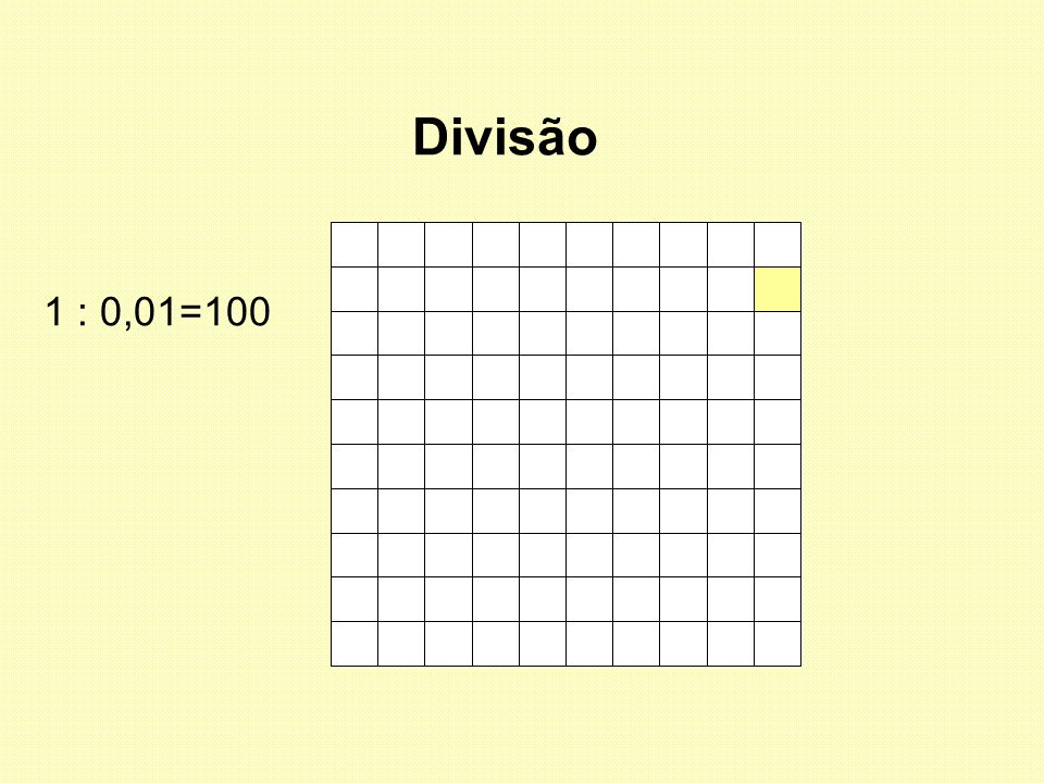 Divisão 1 : 0,01=100