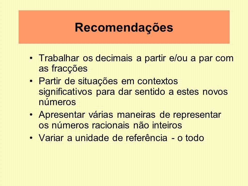 Recomendações Trabalhar os decimais a partir e/ou a par com as fracções.