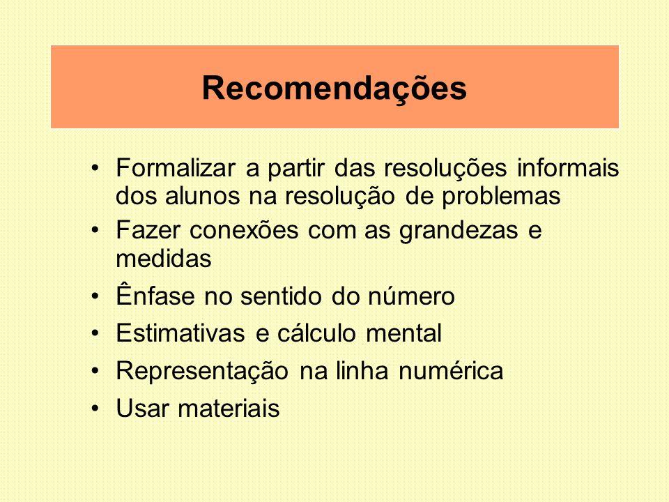 Recomendações Formalizar a partir das resoluções informais dos alunos na resolução de problemas. Fazer conexões com as grandezas e medidas.