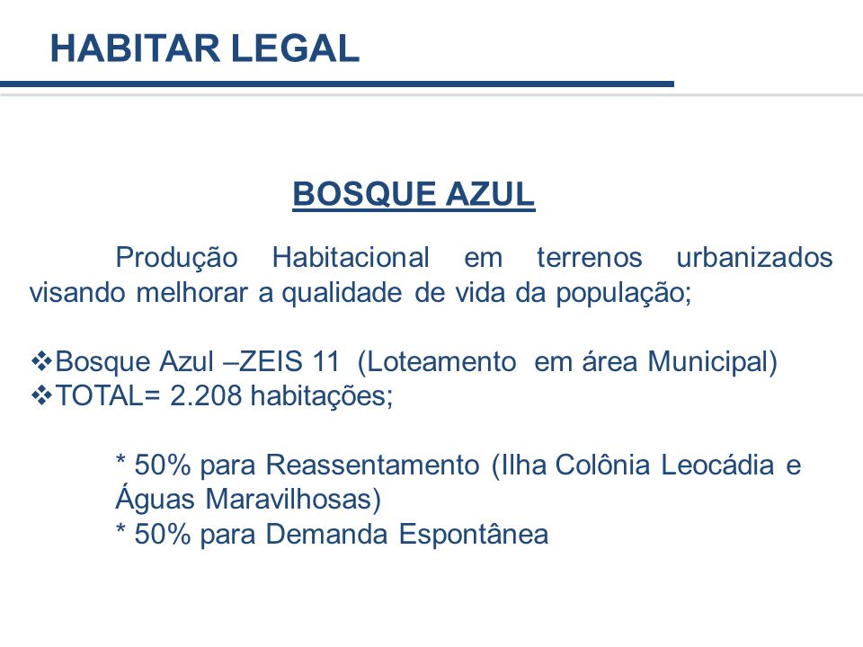HABITAR LEGAL BOSQUE AZUL