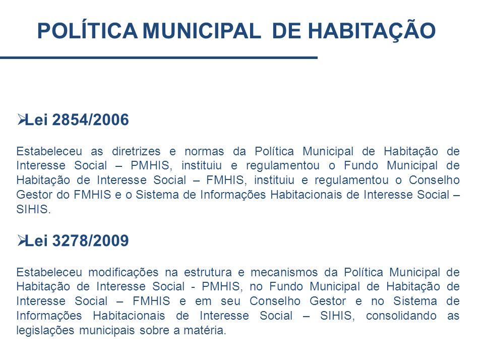 POLÍTICA MUNICIPAL DE HABITAÇÃO