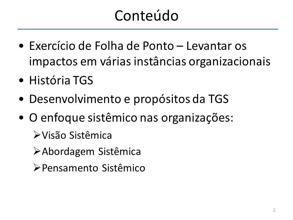 Conteúdo Exercício de Folha de Ponto – Levantar os impactos em várias instâncias organizacionais. História TGS.