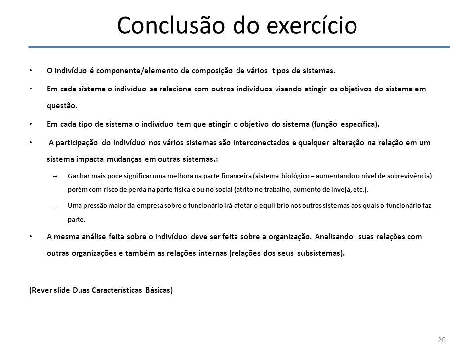 Conclusão do exercício