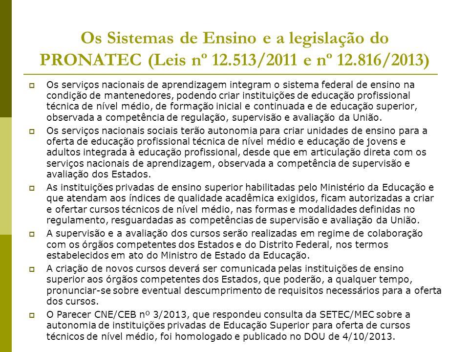 Os Sistemas de Ensino e a legislação do PRONATEC (Leis nº 12