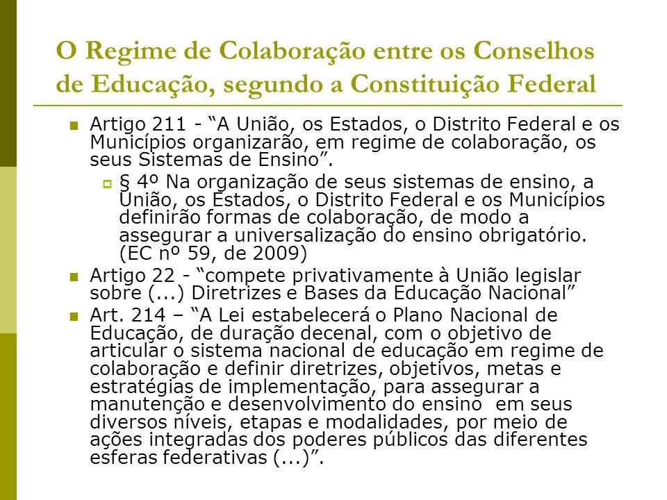 O Regime de Colaboração entre os Conselhos de Educação, segundo a Constituição Federal