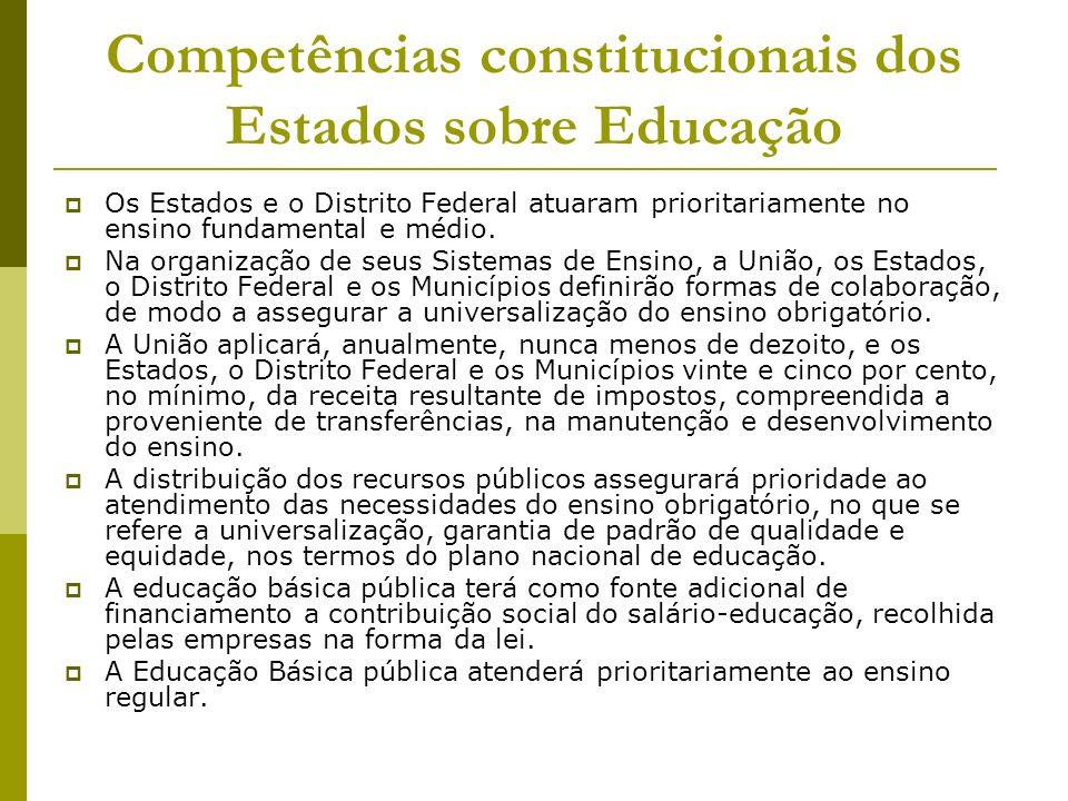 Competências constitucionais dos Estados sobre Educação