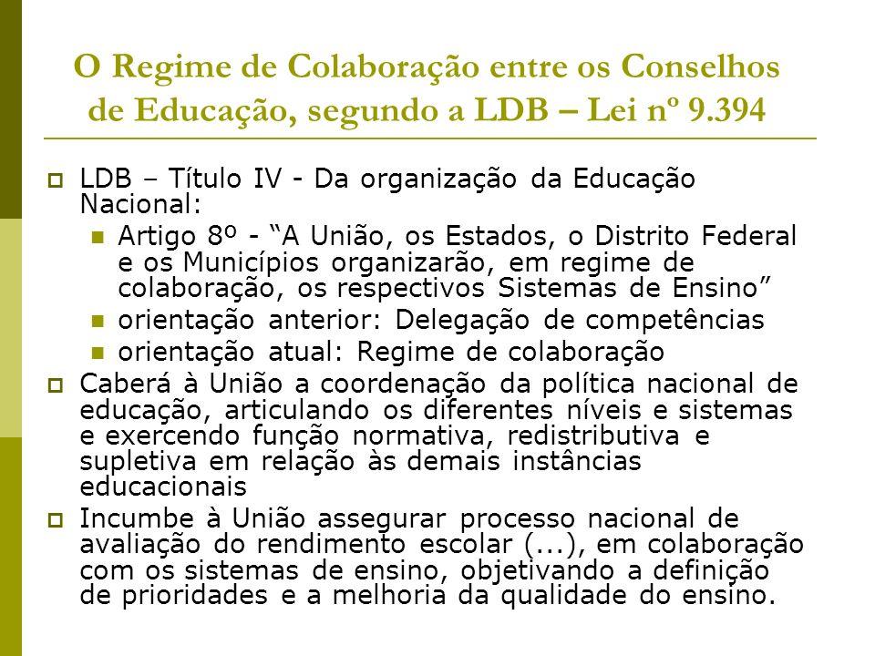 O Regime de Colaboração entre os Conselhos de Educação, segundo a LDB – Lei nº 9.394