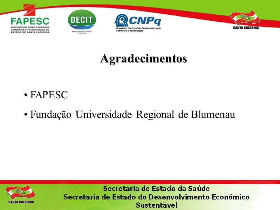 Agradecimentos FAPESC Fundação Universidade Regional de Blumenau
