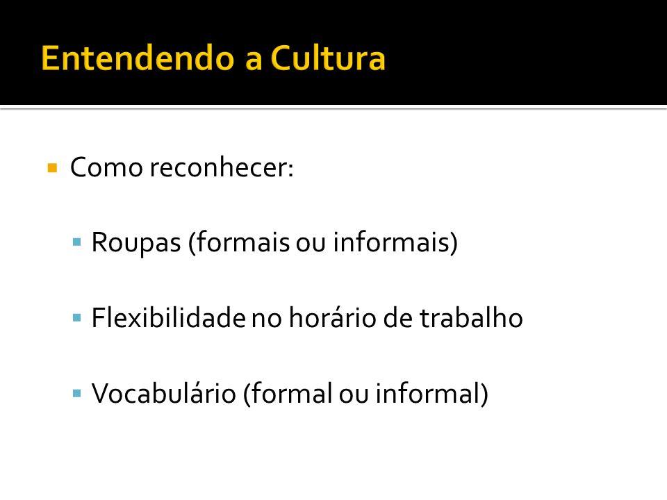 Entendendo a Cultura Como reconhecer: Roupas (formais ou informais)