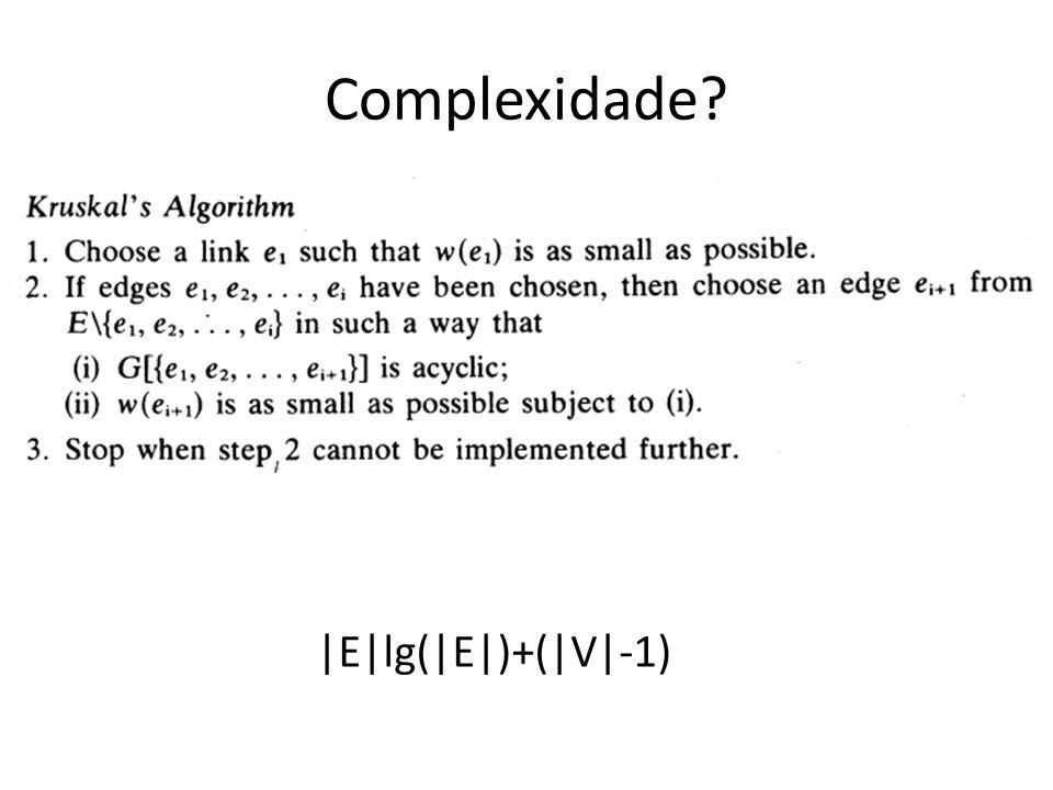 Complexidade |E|lg(|E|)+(|V|-1)