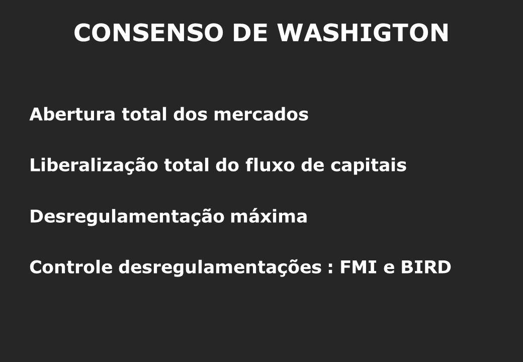 CONSENSO DE WASHIGTON Abertura total dos mercados