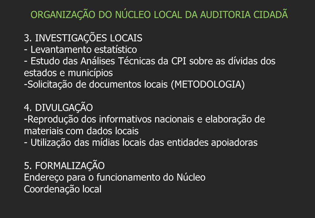 ORGANIZAÇÃO DO NÚCLEO LOCAL DA AUDITORIA CIDADÃ