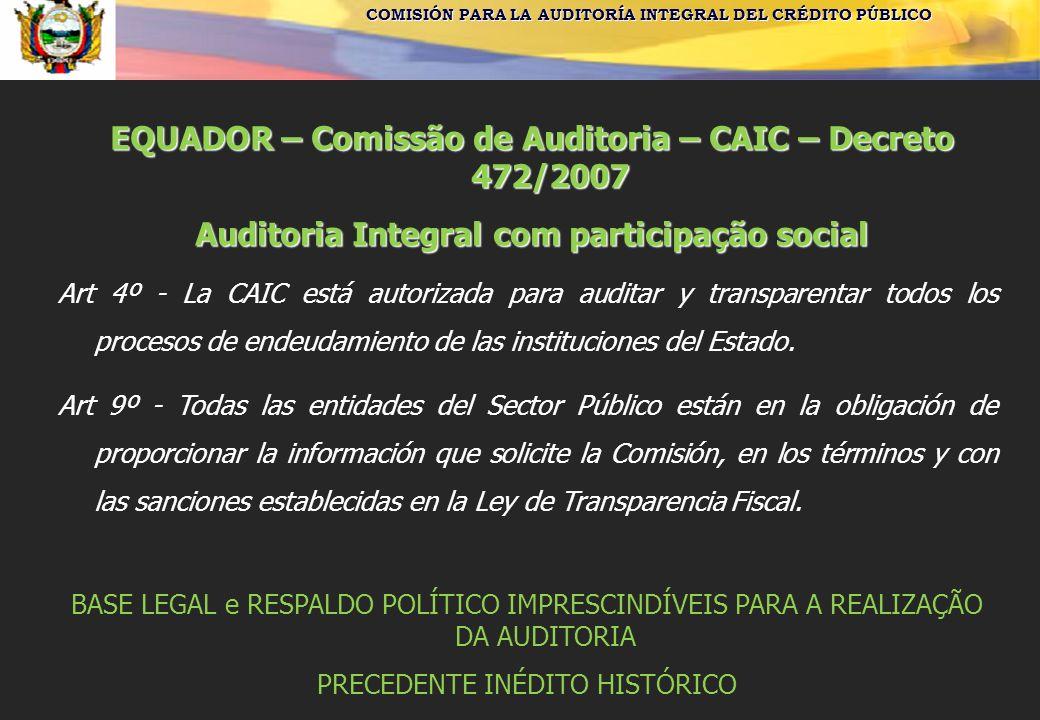 EQUADOR – Comissão de Auditoria – CAIC – Decreto 472/2007