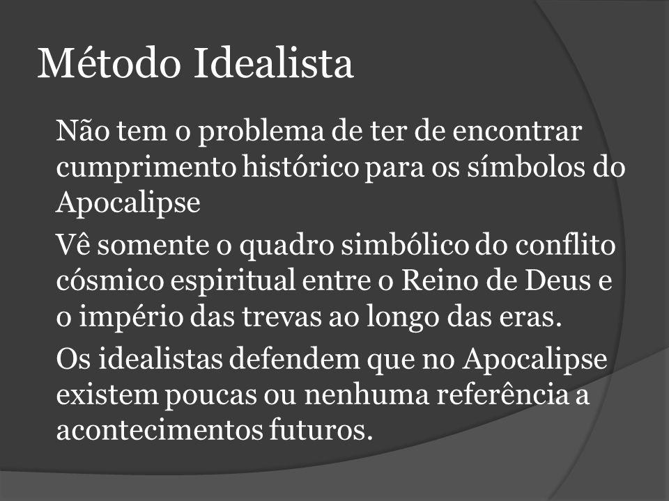 Método Idealista Não tem o problema de ter de encontrar cumprimento histórico para os símbolos do Apocalipse.