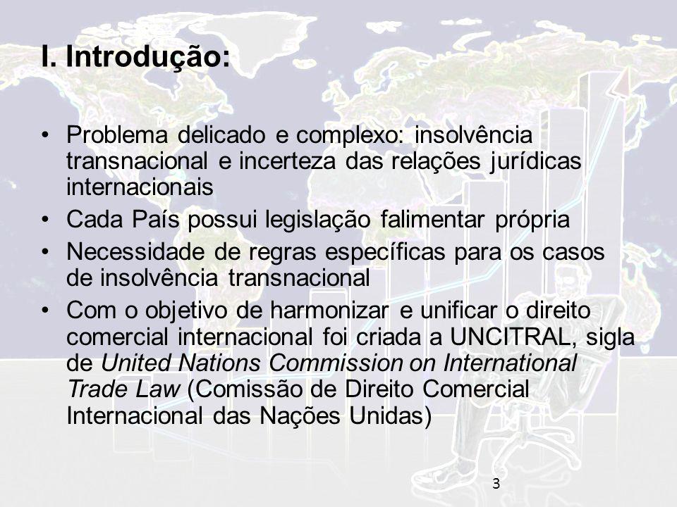 I. Introdução: Problema delicado e complexo: insolvência transnacional e incerteza das relações jurídicas internacionais.